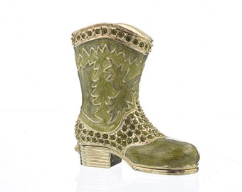 Green Musketeer Shoe Trinket Box Faberge Style Decorated with Swarovski Crystals Unique Home Decor by Keren Kopal
