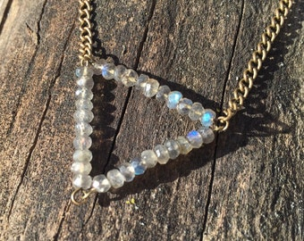 Faceted Labradorite Triangle Necklace / Bohemian Geometric Gemstone Gypsy Jewelry / Festival Accessories
