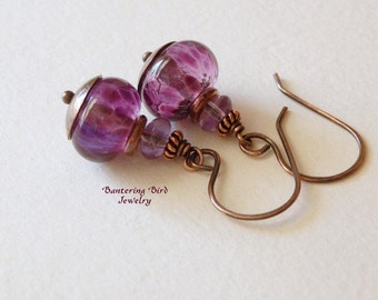 Dramatic Purple Earrings, Lampwork with Amethysts and Oxidized Copper, Artisan Glass Bead Jewelry, Unique Gift for Her