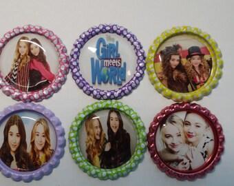 Set of 6 Girl Meets World Finished Bottle Caps - Magnets - Necklaces