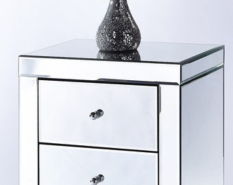 Set x 2 Mirrored bedside table 3 drawer chest night stand cabinet bedroom