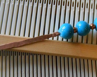 Weaving Sleying Tool Copper with Blue Handcrafted Lampwork Beads
