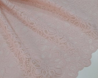 Light Pink Lace fabric, French Lace, Embroidered lace, Wedding Lace, Bridal lace, Evening dress lace, Lingerie Lace, Alencon Lace L80083