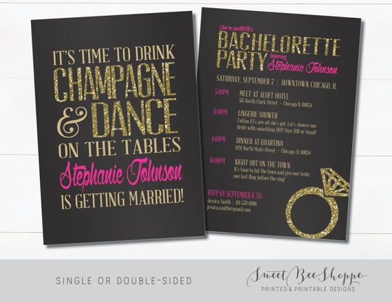 bachelorette invitation bachelorette party invite drink