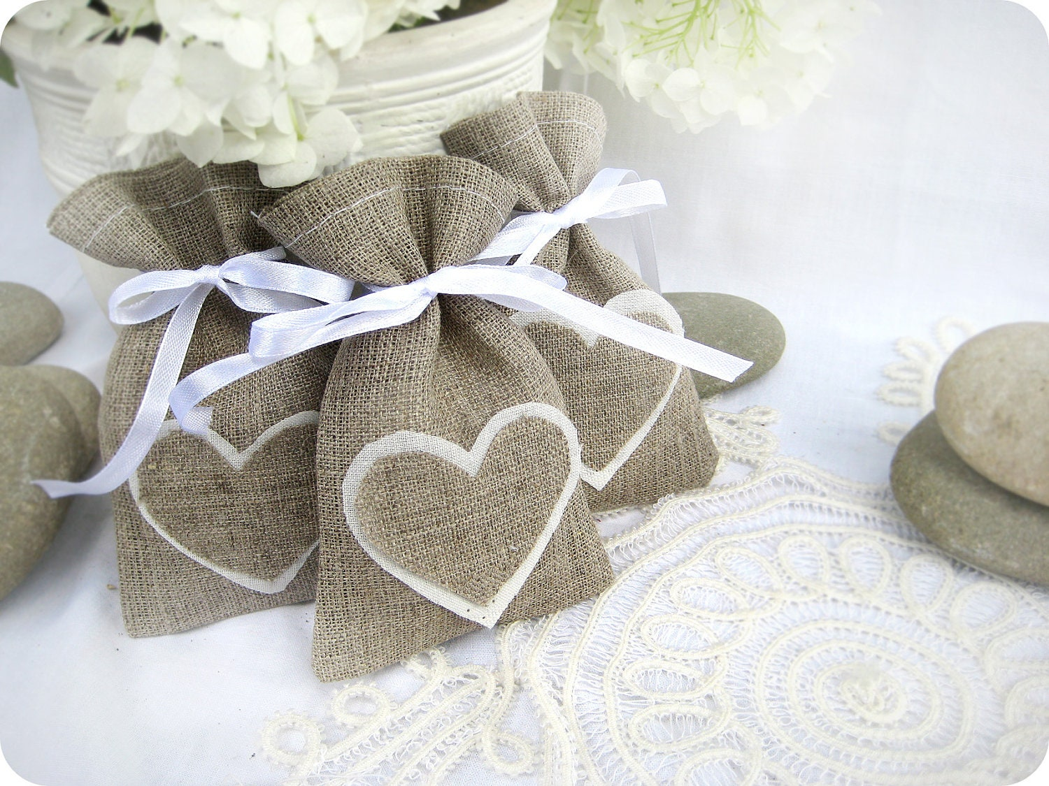 Set of 200 Wedding favor bags Natural Rustic Linen Wedding