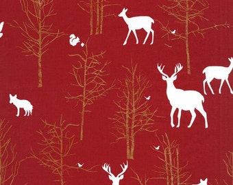 Christmas on Brambleberry Ridge Timber Valley Cranberry Michael Miller Fabric, Choose your cut