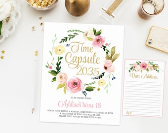 Time capsule first birthday sign, boho floral birthday party, watercolor flowers, pink and gold birthday party, printable print 009