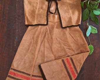 Vintage 70s suede leather set / matching Hippie vest and skirt  /  crochet trimmed patchwork Boho skirt and vest