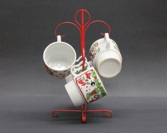 Vintage Kitsch Christmas Mugs with Metal Stand, Set of 4 + Stand (E6907)