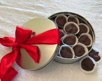 Rich Chocolate Fudge in a Valentine's Day Tin, Nut Free Chocolate Fudge, Valentine's Day Chocolate Candy, Gifts For Her, Gift Basket