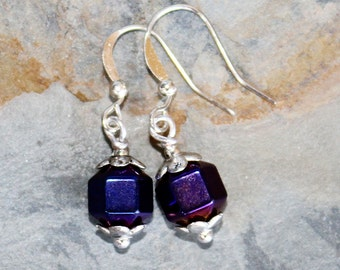 Purple Earrings, Hematite Earrings, Shiny Earrings, Stone Earrings, Everyday Earrings, Handmade Earrings, Holiday Earrings
