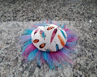 Pincushion- Feather Print with Fluffy Trim, Pink and Blue
