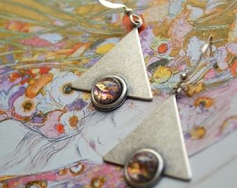 """""""Art nouveau"""" silver, gold purple cabochon earrings"""