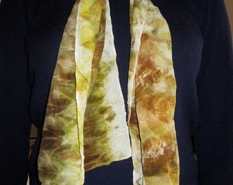 Crepe de Chine Silk Scarf - Earth Tones, Naturally Dyed