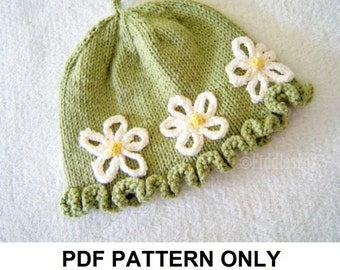 Knitting Pattern - the DAISY Hat (Newborn, Baby, Toddler, Child & Adult sizes incl'd)