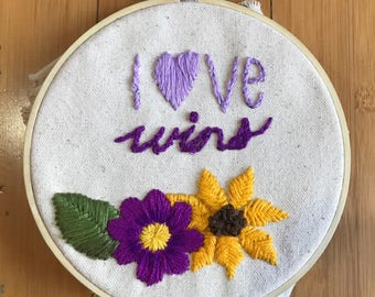 love wins embroidered wall hanging!