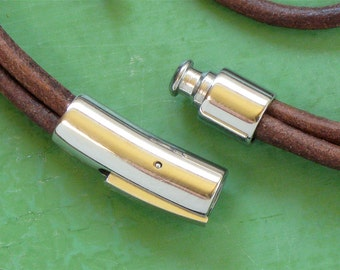1 Stainless Steel jewelry clasp for leather.  6mm inside diameter