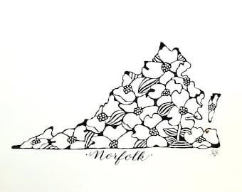 Add Calligraphy to Virginia Dogwood Print