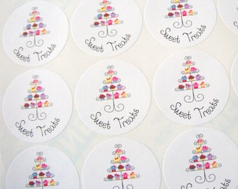 Sweet Treats, Dessert, Cupcake, Stickers, Tea Party, Bridal Shower, Birthday Party, Favor Bag, Food Labels, Sticker Sheet, 20 Large, 2 Inch