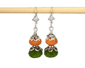 Melon and Olivine Tropical Colored Dangling Earrings, Tropical Earrings, Summer Earrings, Melon and Green, Mother's Day