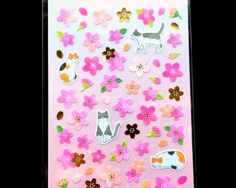 Cute Cat Stickers - Cherry Blossom Stickers - Japanese Stickers - Chiyogami Paper Stickers - Washi Paper Stickers (S171)