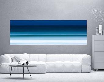 Large coastal artwork, beach canvas large, blue, large beach panorama, extra large wall art, seascape canvas, landscape panoramic, panorama