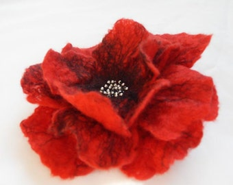 Felt Poppy Brooch red Felt Flower Brooch Poppies or Hair Flower Hair Clip poppies weddings bridesmaid mothers day gift for her