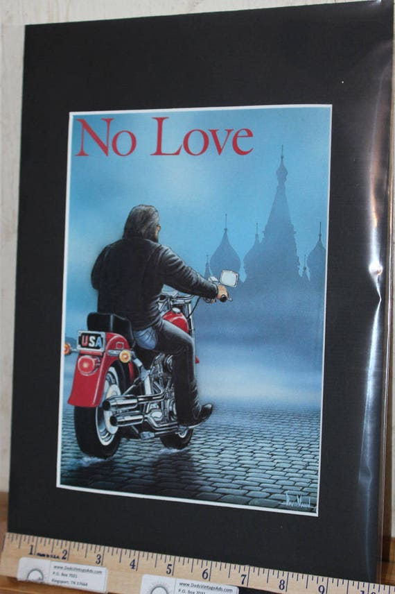 David Mann ''No Love For Russia'' Matted Motorcycle Biker Art #0007ezrxmb