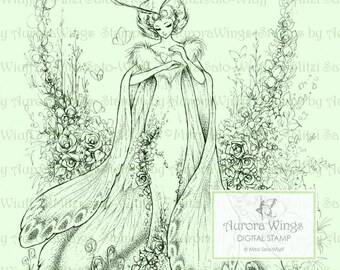 Digital Stamp - Instant Download - Queen Moth - Moth Fairy with Flowers - Fantasy Line Art Digi for Arts and Crafts - AuroraWings