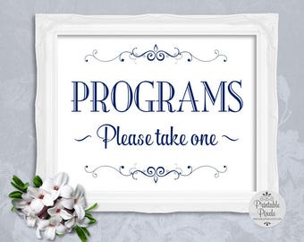 Navy Blue Printable Programs Sign, Wedding, Special Event (#PM11N)