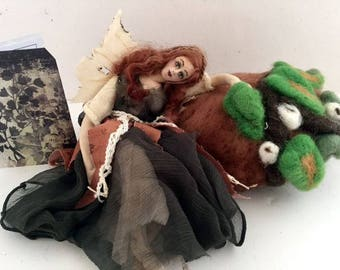 Art doll OOAK cloth fairy needle felted forest sculpture unique gift poseable Caretaker