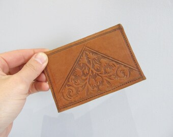 Brown leather tooled card wallet, credit card holder, business card sleeve