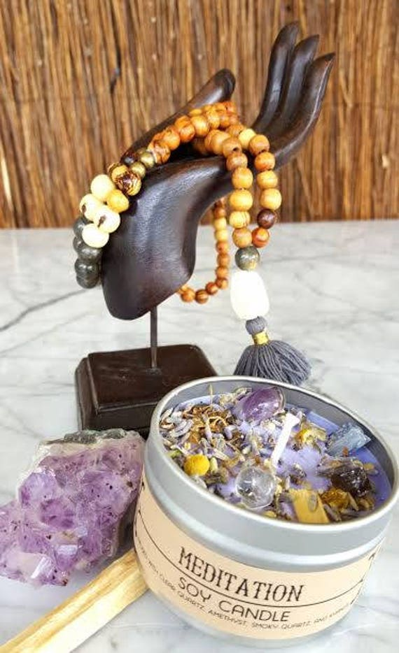 Meditation Soy Candle infused with Clear Quartz, Amethyst, Smoky Quartz, and Kyanite