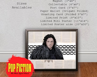 Jon Snow Game of Thrones Print or Original Canvas Original Artwork. Comics, Book, Collectible. Digital Mix-Media Art. Pop Culture.