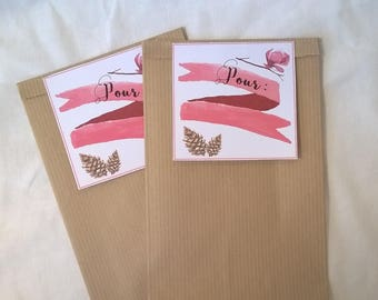 2 bags gift 21 x 12 labels banner pink