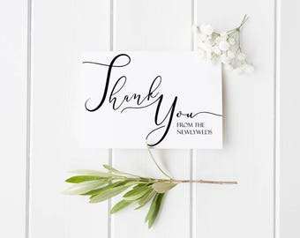 Thank You From the Newlyweds (100 Set) Thank You Notes, Wedding Thank You Card, Thank You From Bride and Groom, Newlywed Thank You Card