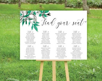 Wedding Seating Chart DIY Digital file Turquoise teal black and white leaves greenery Wedding seating poster seating board