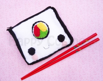 Sushi Roll Zipper Pouch - Pencil Pouch, Pencil Case, School Supplies, Make Up Bag, 3DS Case, Phone Case, Coin Purse