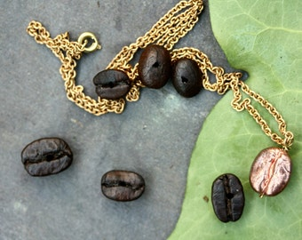 coffee necklace, coffee bean necklace, gift for her, i love coffee, boho bridesmaid, thankyou gift, coffee lover gift, barista gift,