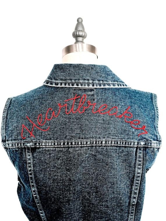 """Heartbreaker"" Hand Embroidered Denim Vest ~ Made to Order"