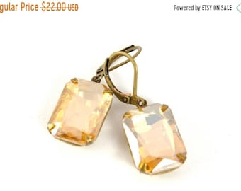 20%OFF SALE Vintage Topaz Earrings, Gold Champagne Vintage Rhinestone Earrings, Estate Style Earrings, Wedding Bridal Earrings