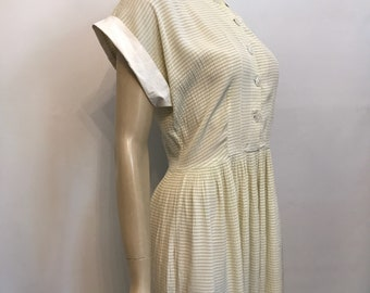 1940s charteuse and white stripe seersucker vintage dress - as is but very wearable