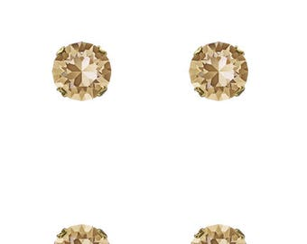 Swarovski Crystal Golden Shadow Champagne Maud Stud Earrings Gold Plated Womens Girls SS39 8mm Chaton