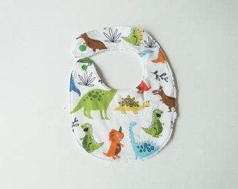"""Bavoir naissance """"dinosaures"""" en coton et éponge taille naissance à 12 mois cadeau de naissance garçon bébé"""