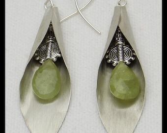 GREEN GARNETS - Faceted Green Garnets - Handforged German Silver Calla Lily Earrings