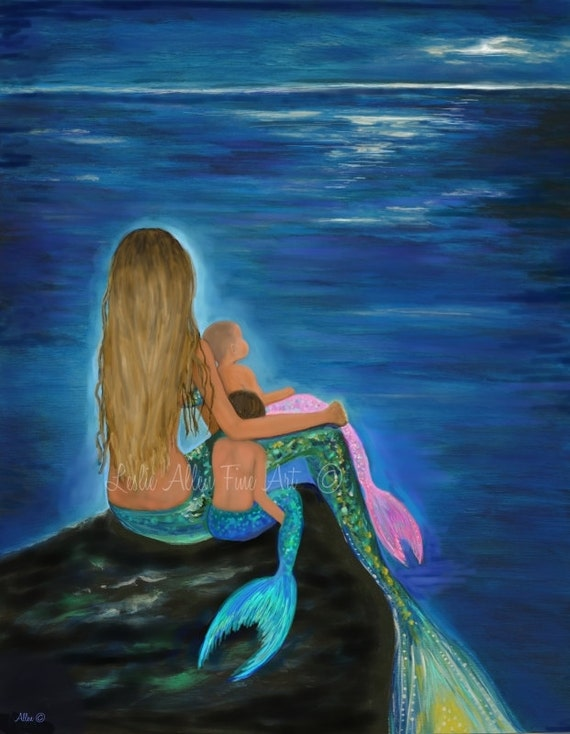 Mermaid Art Print Mother Daughter Son Mermaids Art Baby