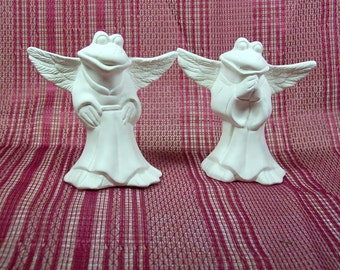 Unpainted Ceramic Bisque / Angel Figurines / Ready to Paint Ceramics / Frog Figurines / Ceramics to Paint / Ceramic Bisque / Bisque Ware