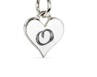 Charm, Script 'O' Alphabet Heart, Sterling Silver, 12x8mm - 1 Pc Wholesale Price (11557)/1