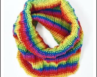 Hand-Knit Rainbow Striped Cowl