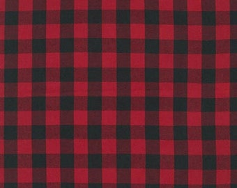 Red Buffalo Check, House of Wales Plaid, Robert Kaufman, Red Buffalo Plaid, Cotton Fabric, Quilt Fabric, Christmas Decor, Fabric By the Yard
